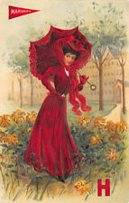College Girls Harvard University Red Dress Umbrella Embossed Postcard