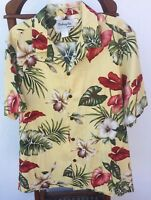 Hawaiian Aloha Bishop St. Vintage Vibrant Floral Yellow Men's S/S Shirt Sz L USA
