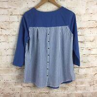 J. Jill Blue Button Striped Back 3/4 Sleeve Blouse Top Medium Petite