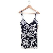 Flynn Skye Tunic Top XS Dress Black White Floral Print Mini Spaghetti Strap NWT