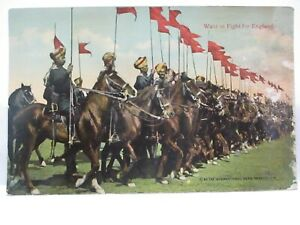"""WWI POSTCARD """" WANT TO FIGHT FOR ENGLAND """" INDIAN NATIVE CALVARY, W/ BIO UNUSED"""