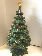 Vintage 21 Inch Atlantic Mold Ceramic Lighted Green Christmas Tree