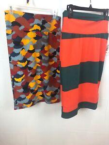 Bundle 2 Lula Roe CASSIE SKIRT SMALL NWT Colorblock Summer