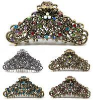 USA Woman Large elegant metal hair claw rhinestones crystal bridal hair clip