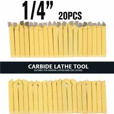 "20 Pcs 1/4"" Metal Lathe Tooling Carbide Tip Tipped Cutter Tools Bit Cutting Sets"