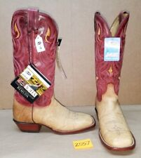 Womens Size 9 B JUSTIN Tan Red L7007 Cowboy Boots Square Toe