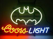 """COORS LIGHT BATMAN Neon Sign Light Handmade Visual Artwork Beer Bar Decor17""""x14"""""""