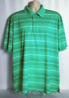 Pro Tour Airplay Short Sleeve Golf Polo Shirt Green White Stripe Mens XXL 2XL