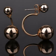 Gold Plated Elegant 2 Two Double Sided Earrings Front Back Stud Piercing Plug