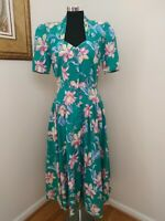 VNGT 80's Carol Anderson Green Floral Button Up Dress w/ Shoulder Pads Sz 11/12