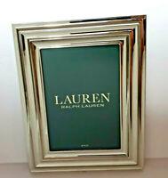 NEW Lauren Ralph Lauren Fluted Picture Frame Silver Chrome 5 x 7 Kickstand Back