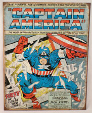 "Captain America Cover Vintage Patina 12.5"" X 16"" Comic Tin Sign Marvel #1970"