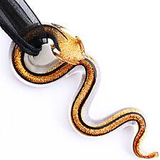 Gold Black Snake Handmade Lampwork Glass Murano Bead Pendant Ribbon Necklace