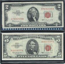 1953-1963 - US - $2 DOLLARS + $5 DOLLARS RED SEAL Banknotes ( 2 Notes ) - NR