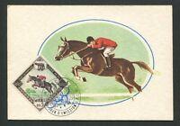 MONACO MK 1960 OLYMPIA REITEN PFERD MAXIMUMKARTE CARTE MAXIMUM CARD MC CM d8487
