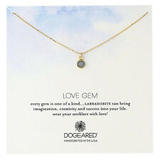 "NEW DOGEARED ""LOVE GEM ROUND BEZEL"" Necklace in Labradorite-SALE"