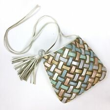 Vtg Sharif Woven Leather Small Crossbody Shoulder Bag Rainbow Pastel Pearl Usa