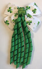Girls Large St Patrick's Day H.Made Ribbon School Hair Corker Bow/Clasps /Clip