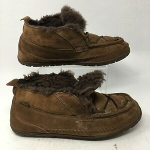 L.L Bean Mens 11M Wicked Good Lodge Chukka Slippers Brown Suede Fur Lace Up