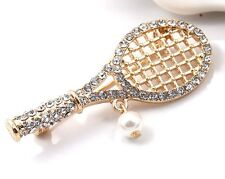 Tennis Racket & Ball Dangle Brooch Pin Crystal Gold Plated New Women New