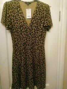 Next Leopard Print Stretch Mock Wrap Dress Size 14 New With Tags