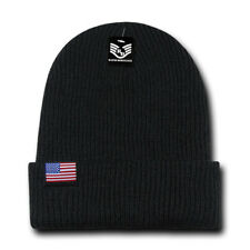 NEW - USA Flag Label Beanie Double Lined Acrylic Warm Winter Long Cuff Unisex