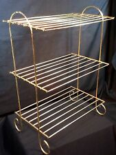 Vtg Metal Wire 3 Tier Plant Stand Gold Tone Wire Mid Century Retro Side Table