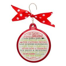 Occasionally Made Holiday Ceramic Ornament -12 DAYS OF CHRISTMAS in Arkansas FS!
