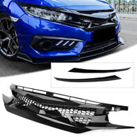 JDM Battle Style Front Bumper Honeycomb Grille For Honda Civic 10th Gen 2016-18