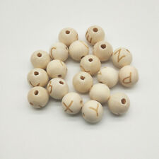 50 PCs Wooden Carved Letters Beads 14mm DIY Crafts For Jewelry Making Bracelet