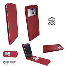 OnePlus One - Smartphone HQ Leder hülle - Flip L Rot Leder