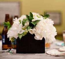 Rectangle large vase handmade cubic/square, black, 14 cm vase/Flower centrepiece