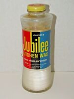 Vintage Johnson's Jubilee Kitchen Wax Glass Bottle Metal Cap Collectible Cleaner