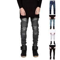 Casual Men's Classic Slim Fit Biker Jeans Pencil Pants Skinny Denim Trousers