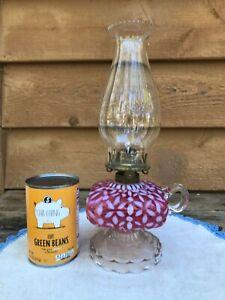Antique 1880s HOBBS Cranberry Opalescent SNOWFLAKE Finger Foot Oil Kerosene Lamp