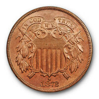 1872 2C Proof Two Cent Piece Uncirculated Red Brown RB PR Key Date