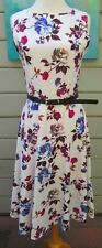 New Light Fashion Vintage Floral Print Sleeveless Fit n Flare Dress Wms Small