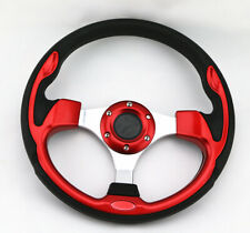 Universal 320Mm Jdm 6 Bolt 5125 Red Aluminum Racing Steering Wheel & Horn Button