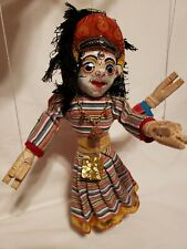 "12"" Nepal Handmade Dancing Doll Double Face Puppet DOLL Marionette Wood Cloth"