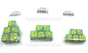 Dragon Dice Large Medium Small Set of Feral Yellow Promo Set Alt Ink SFR TSR Die