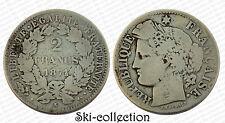 2 Francs 1871 K (Bordeaux) Cérès. France. Argent/ Silver