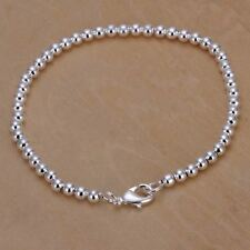*UK* 925 SILVER PLT SIMPLE SMALL BEADED BRACELET / BANGLE / ANKLET LADIES BEAD