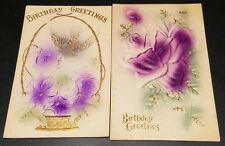 Lot of 2 Birthday Greetings Postcards Embossed and Airbrushed Purple & Green
