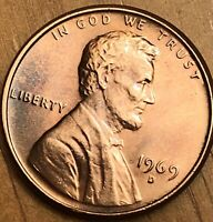 1969 D Lincoln Error Cent No FG FS -901 MS Red.  Beautiful Tone Great Coin