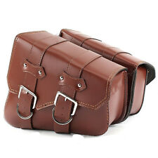 Motorcycle Brown PU Leather Tool Bag Luggage Saddlebag Cruiser Chopper Bobber