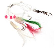 RON THOMPSON HOKKAI MIXED FEATHERS W/ FLASHES 3 HOOK SEA FISHING RIG #2/0 SILVER