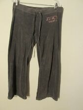 S7148 Juicy Couture Small Gray Velour Hand Hemmed Pink Logo Track Pants