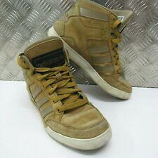 Adidas PARA HOMBRE HARD COURT HI Cuero Marrón Estilo Vintage Zapatillas Size UK 7