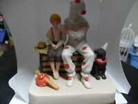 "Norman Rockwell museum  -""The Runaway""  clown & boy porcelain music box"