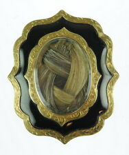 Antique Memory 14K Yellow Gold Mourning Brooch Pin 82679